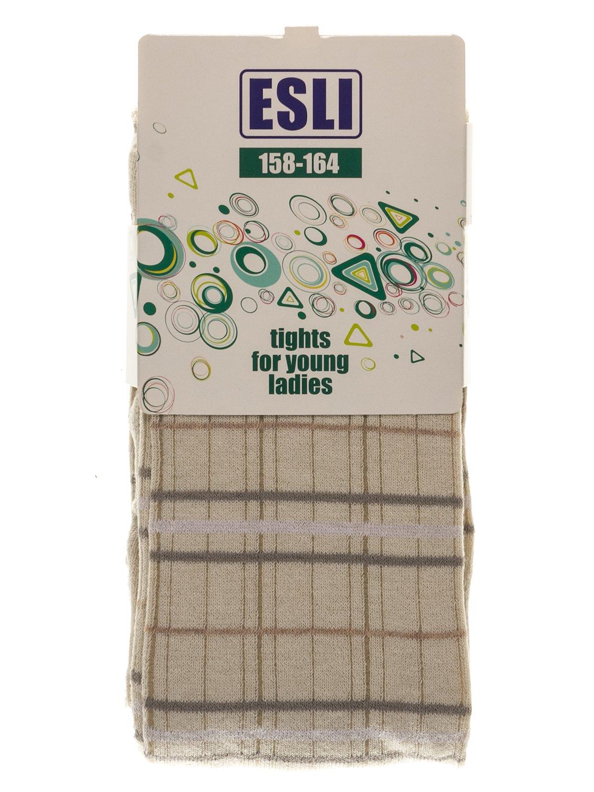 Колготки молочного кольору в клітинку | 3750136 | фото 2