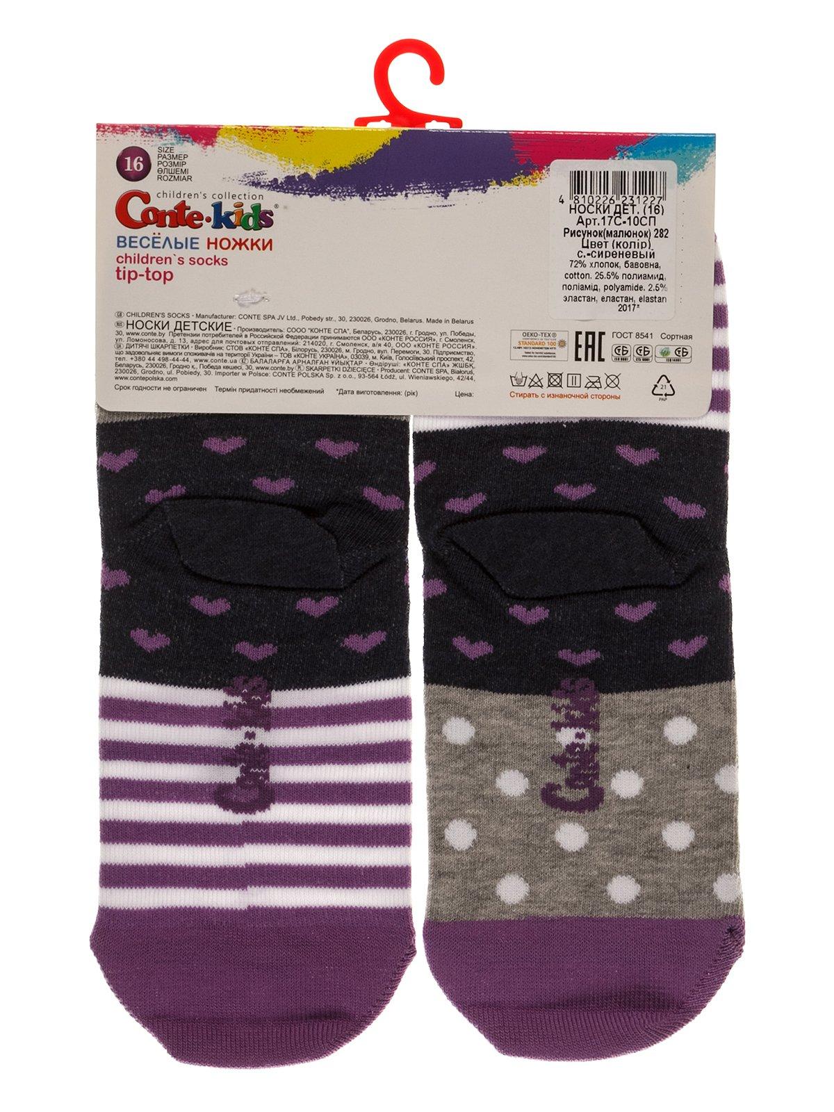 Шкарпетки сіро-бузкові | 3750392 | фото 2