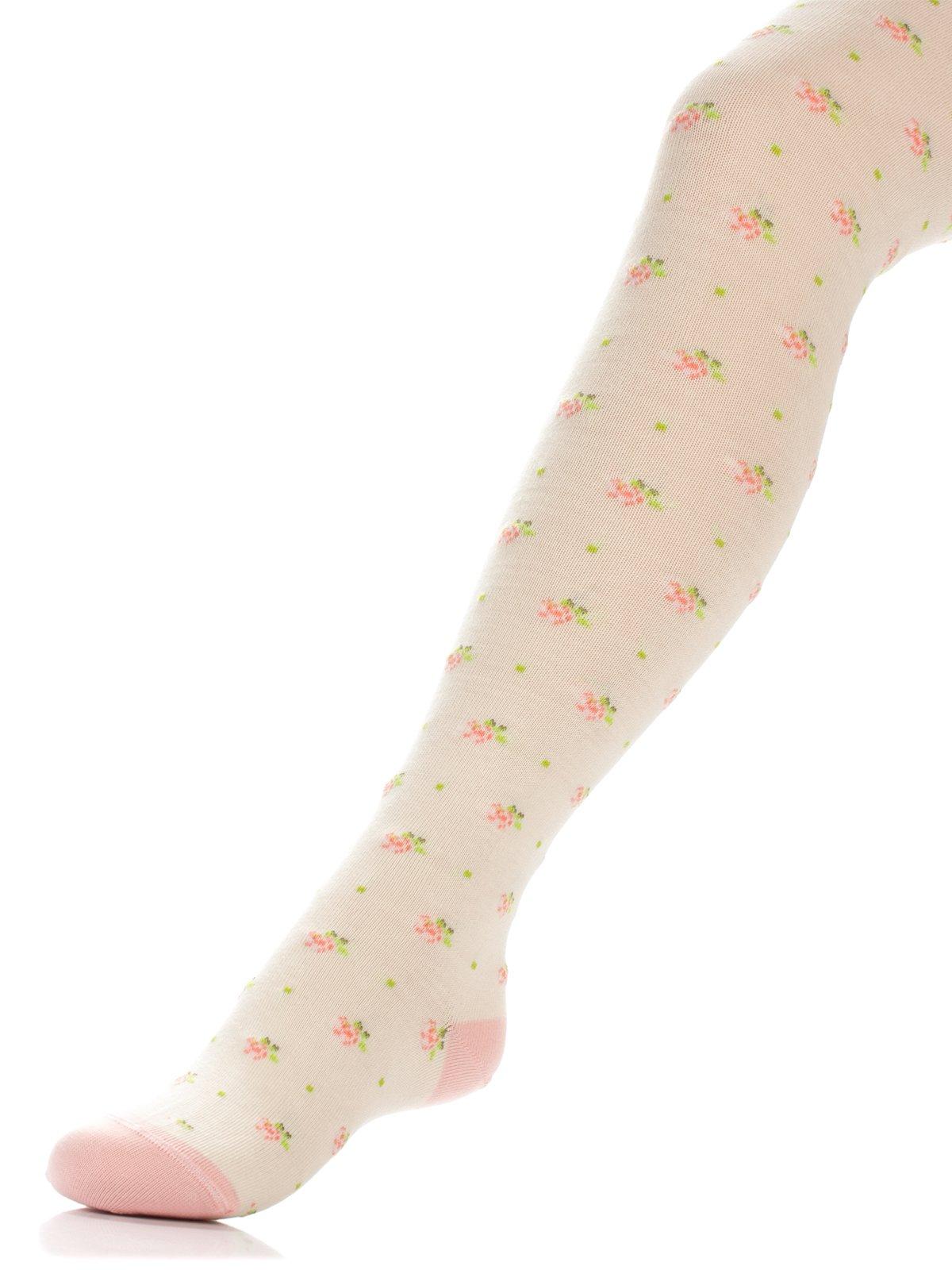 Колготки цвета капучино с цветочным принтом | 3750068