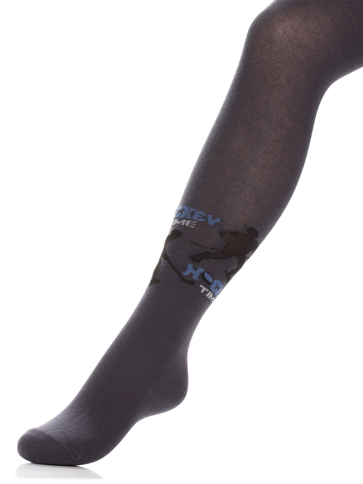 Колготки темно-серые с принтом | 3750480