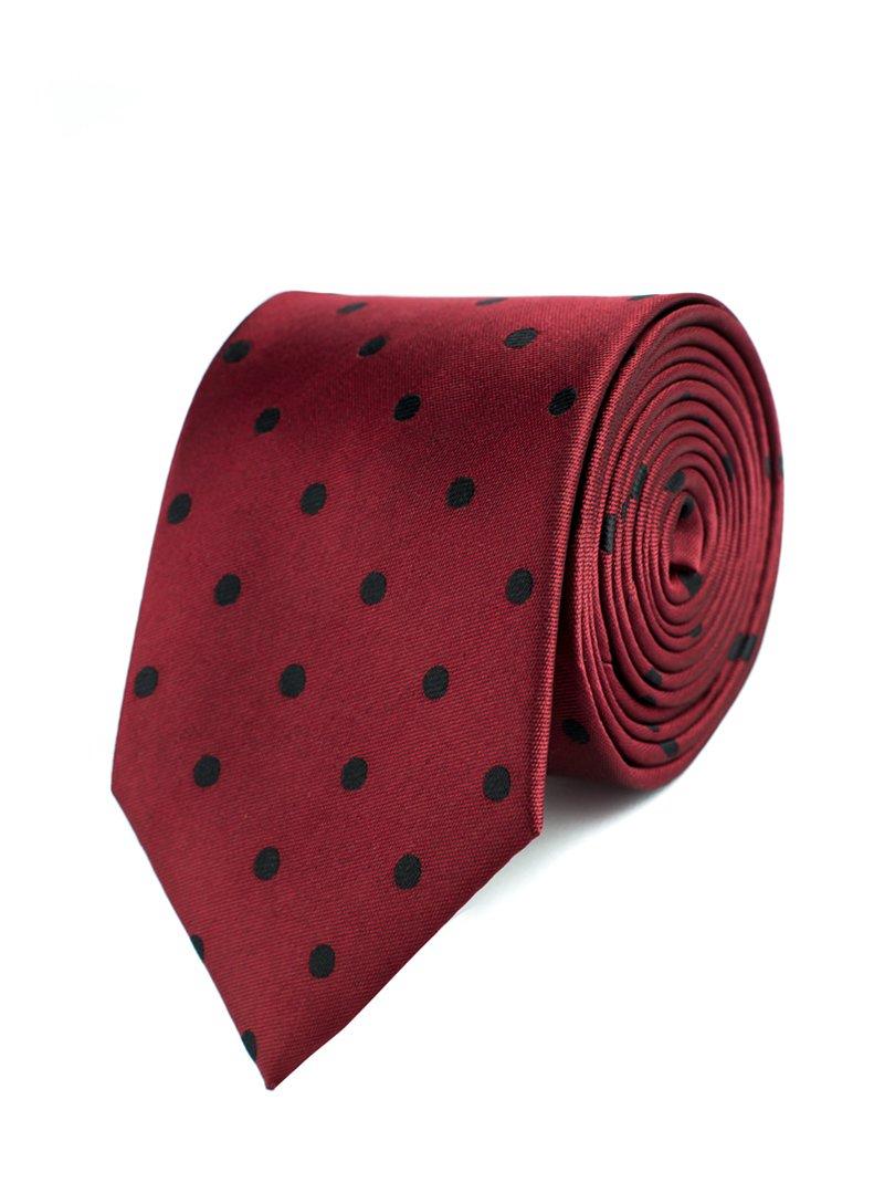 Краватка бордова в горох | 3800805