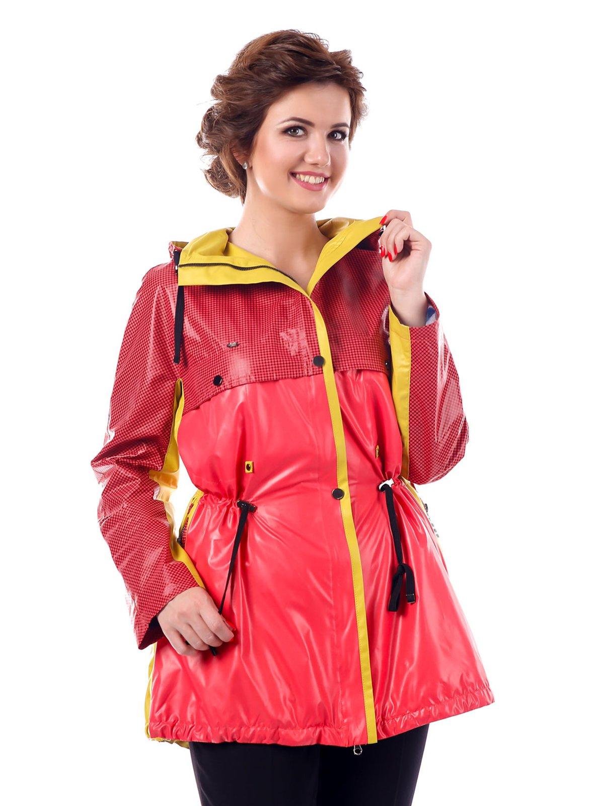 Куртка желто-малиновая в клетку | 3810584