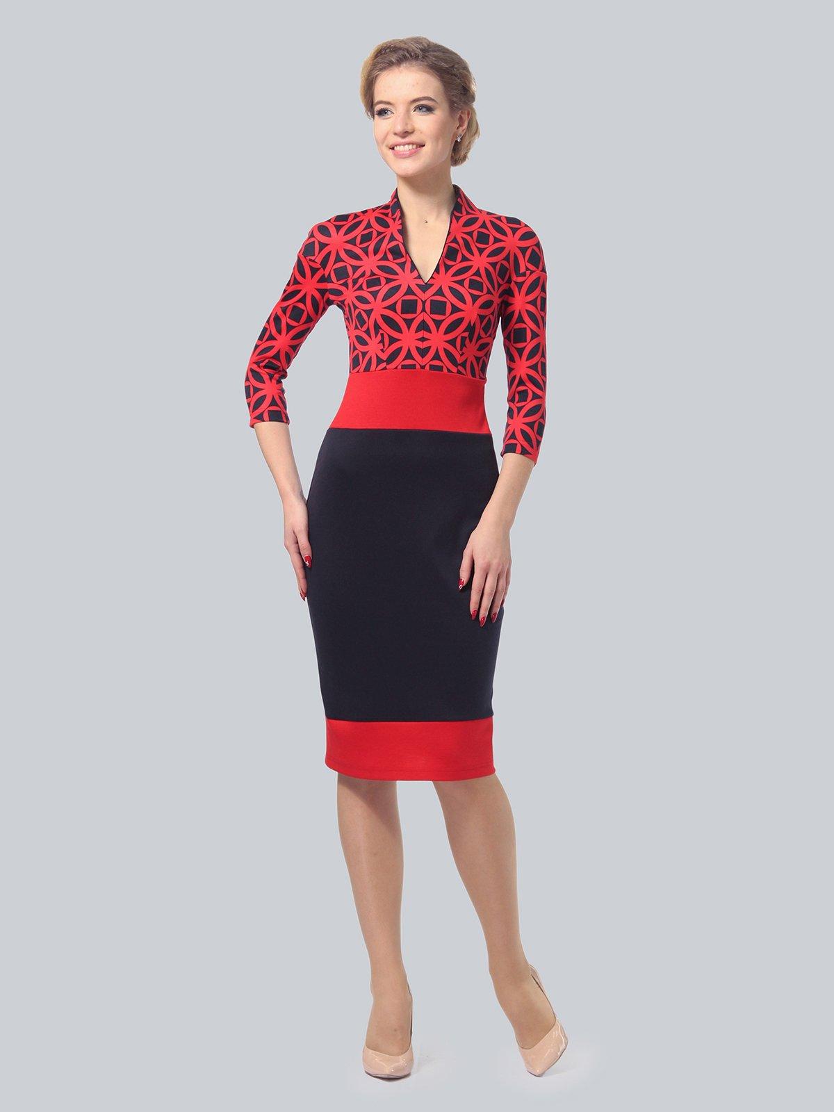 Платье красно-синее в принт | 3828039 | фото 2