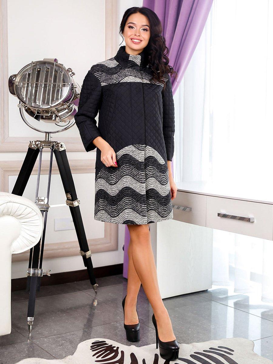 Пальто черно-серое в волнообразную полоску | 3831029
