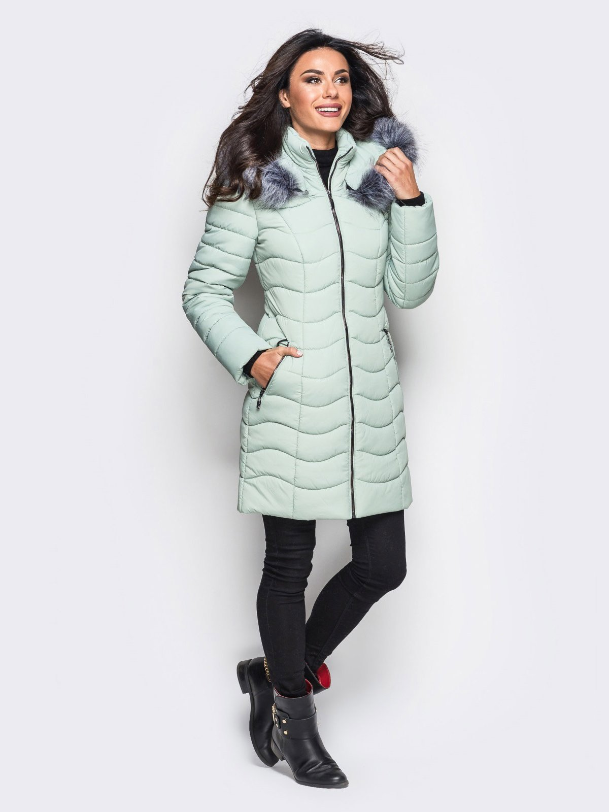 Пальто светло-бирюзовое   3833735