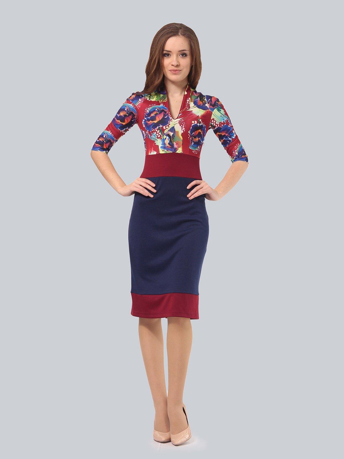 Платье двухцветное с цветочным принтом | 3840422