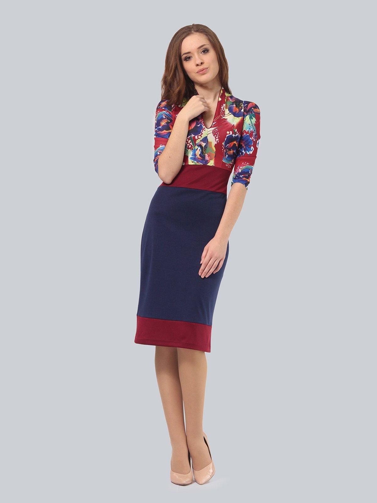 Платье двухцветное с цветочным принтом | 3840422 | фото 3