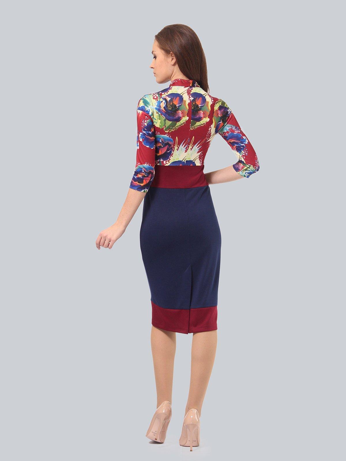 Платье двухцветное с цветочным принтом | 3840422 | фото 4