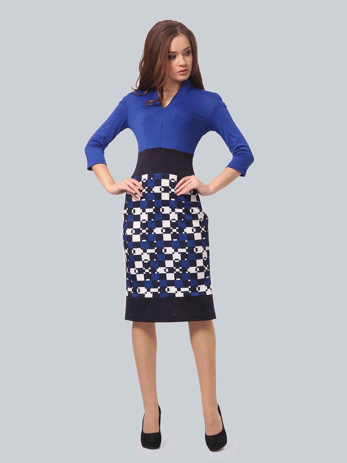 Платье синее с принтом | 3840423