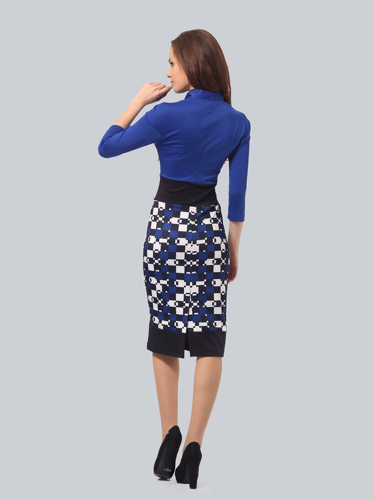 Платье синее с принтом | 3840423 | фото 3