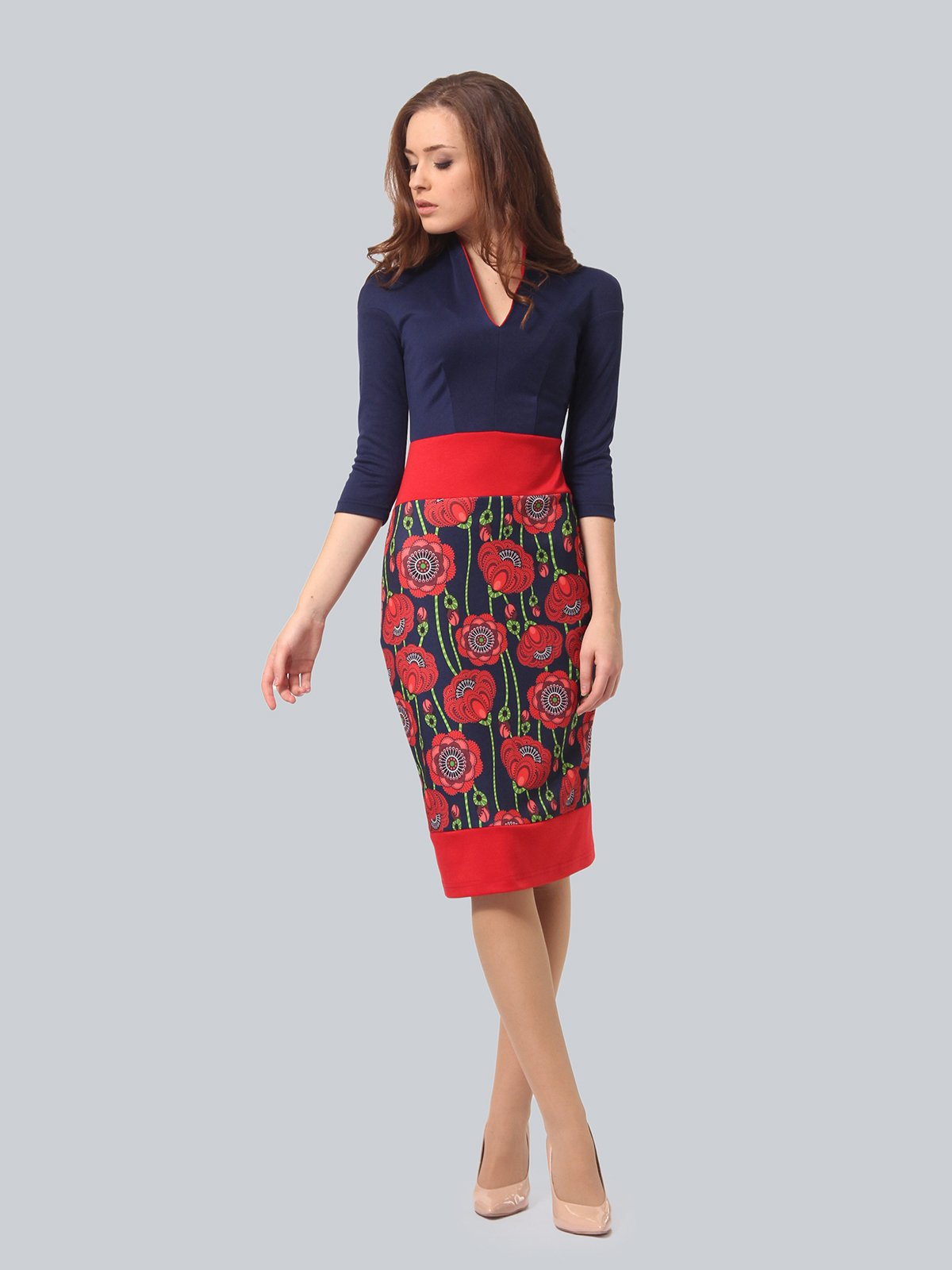 Платье темно-синее с цветочным принтом | 3840425 | фото 5