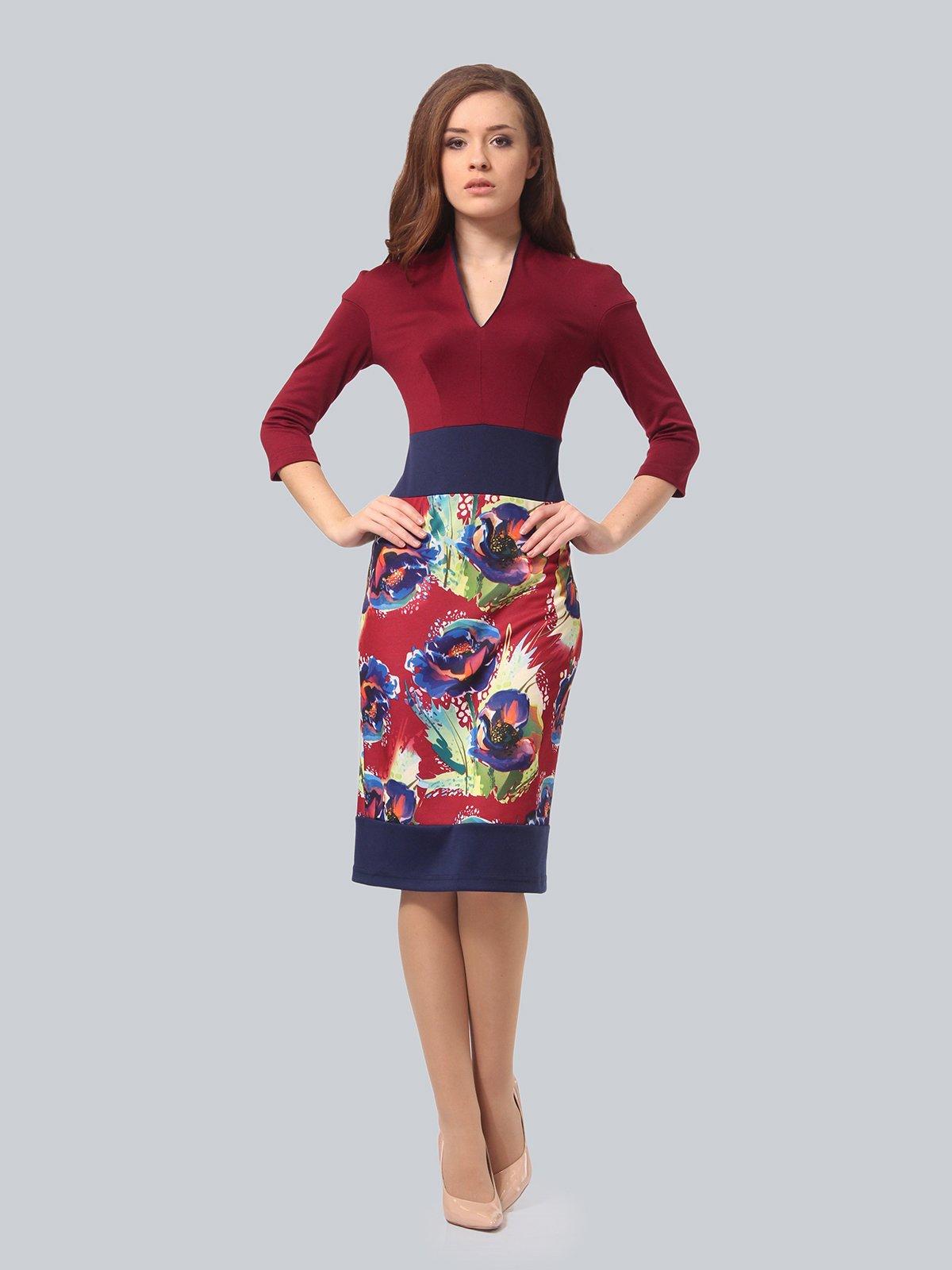 Платье бордовое с цветочным принтом | 3840428 | фото 2