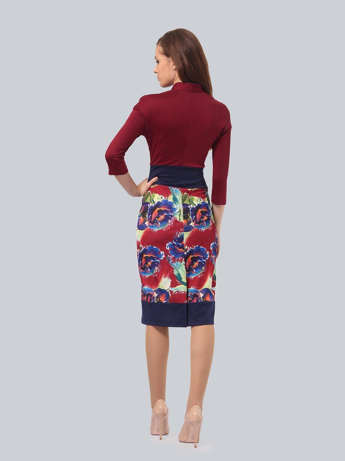 Платье бордовое с цветочным принтом | 3840428 | фото 3