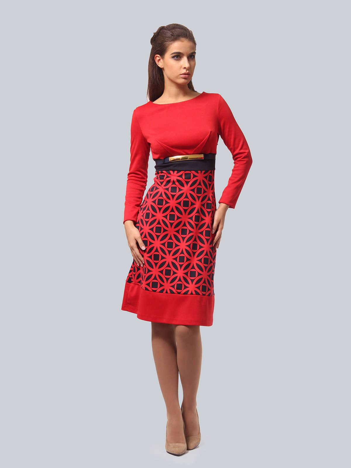 Платье красное с принтом | 3840433
