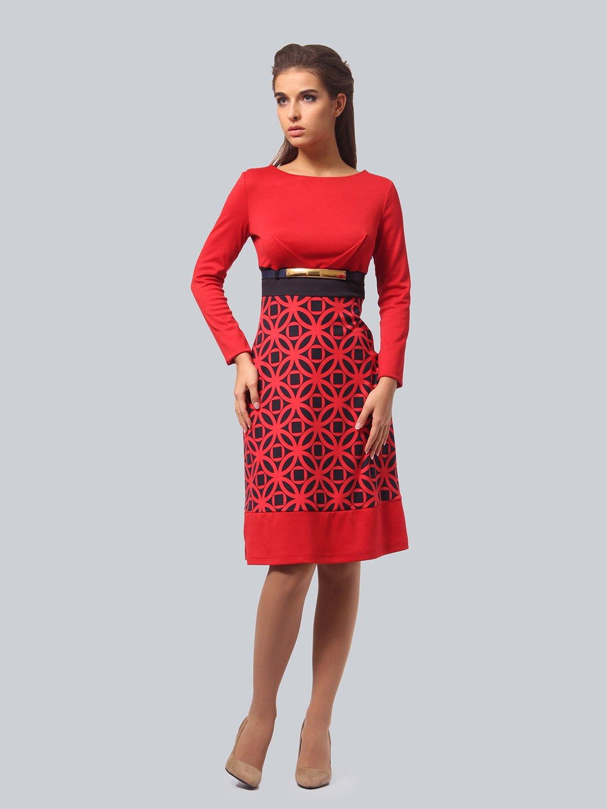 Платье красное с принтом | 3840433 | фото 2