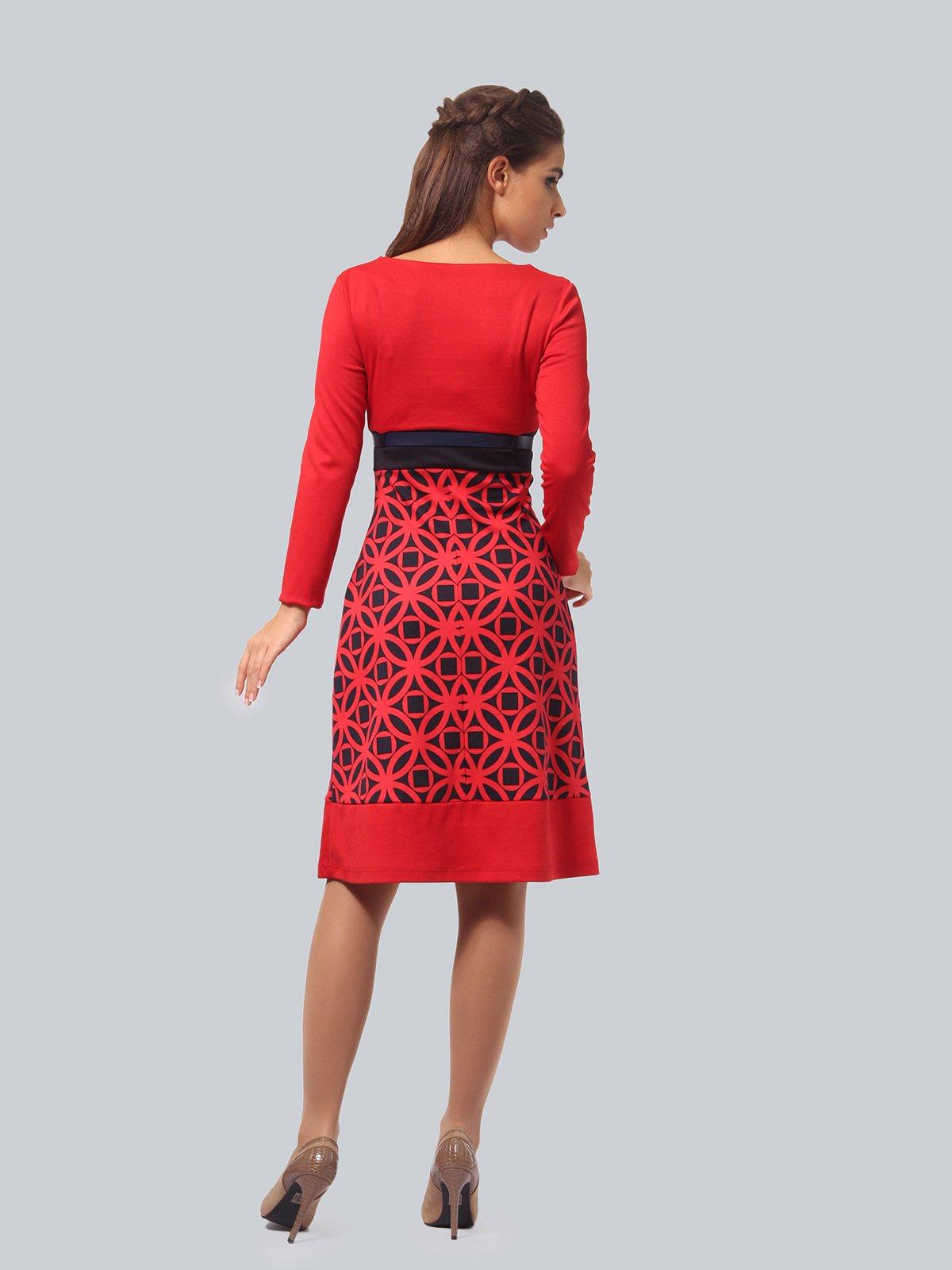 Платье красное с принтом | 3840433 | фото 3