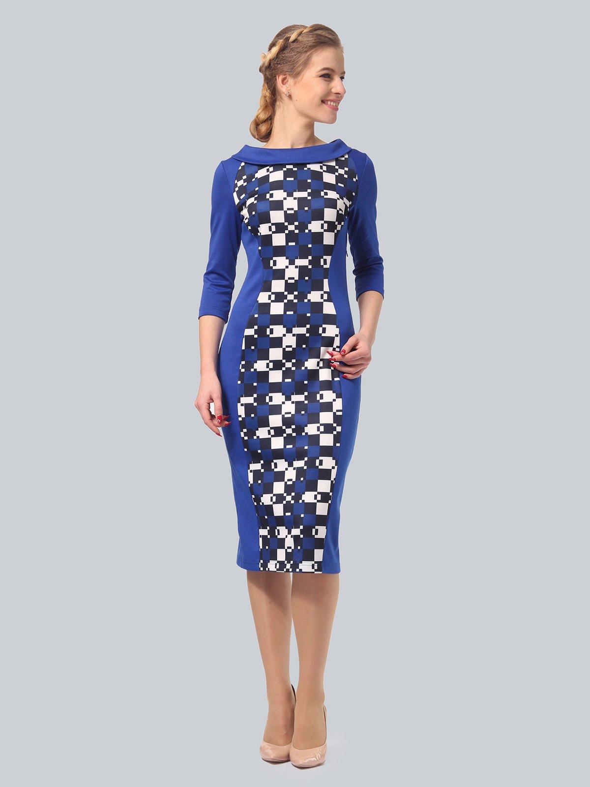 Платье цвета электрик с принтом | 3840436