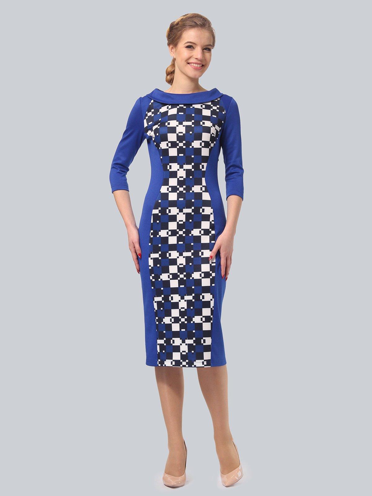 Платье цвета электрик с принтом | 3840436 | фото 2