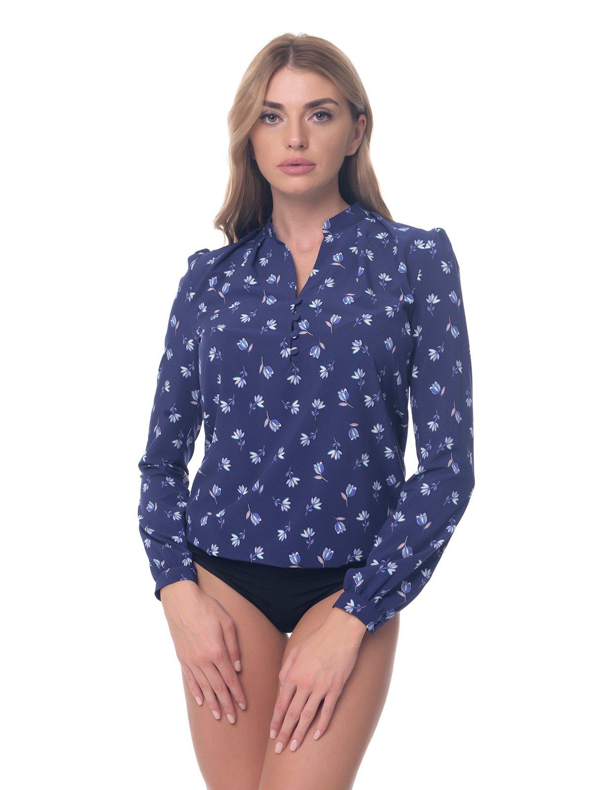 Блуза-боді темно-синя в квітковий принт | 3845687