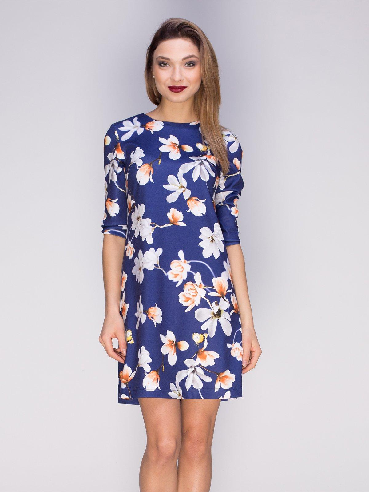 Сукня синя в квітковий принт | 3851013