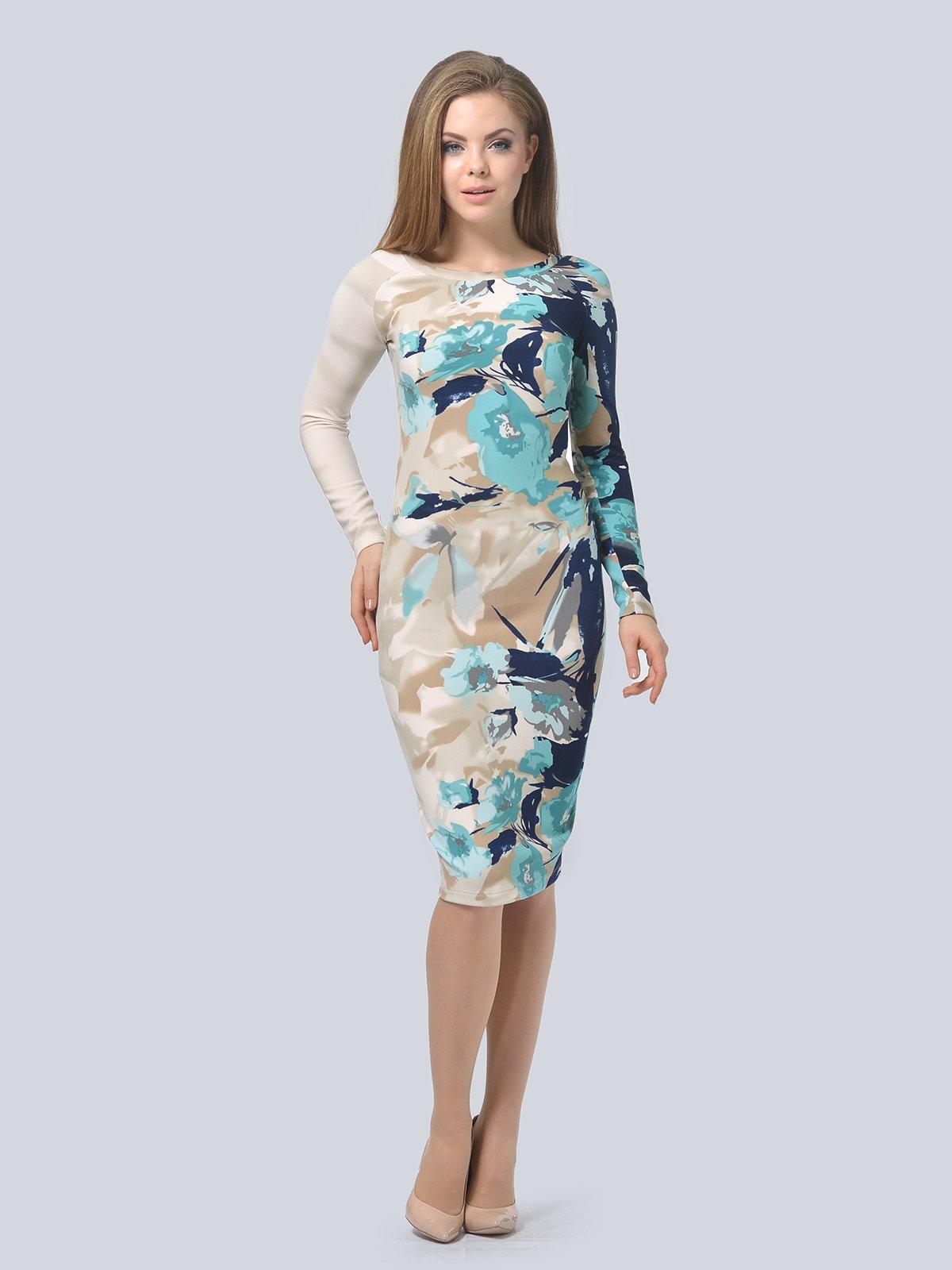 Платье бежевое в принт   3794574