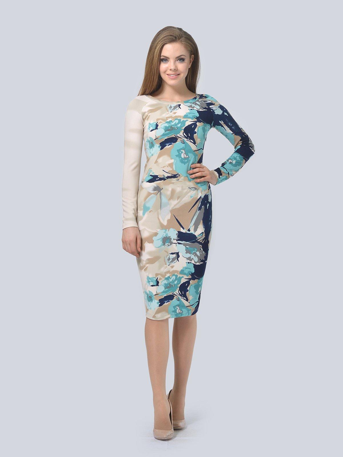 Платье бежевое в принт   3794574   фото 2