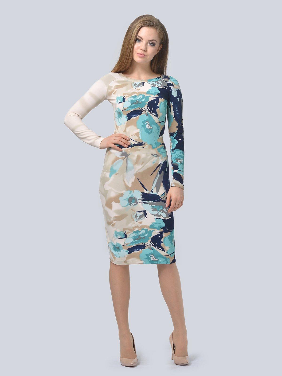 Платье бежевое в принт   3794574   фото 3