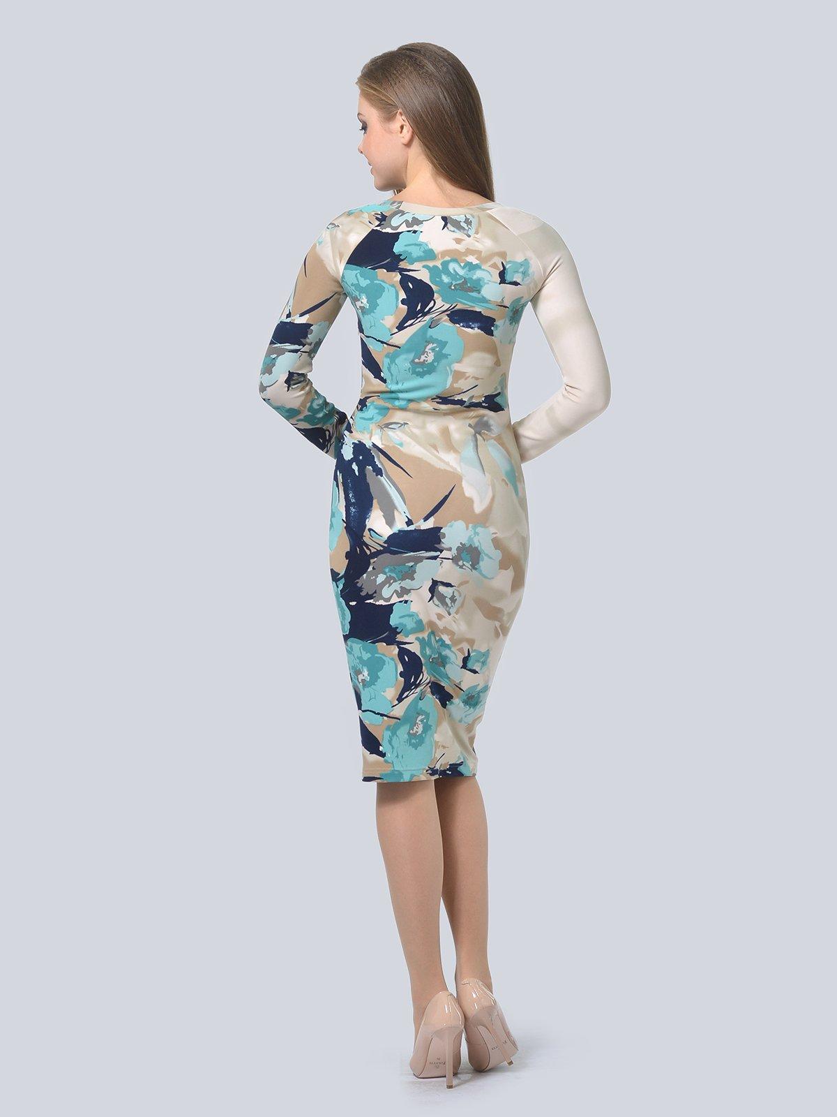 Платье бежевое в принт   3794574   фото 4