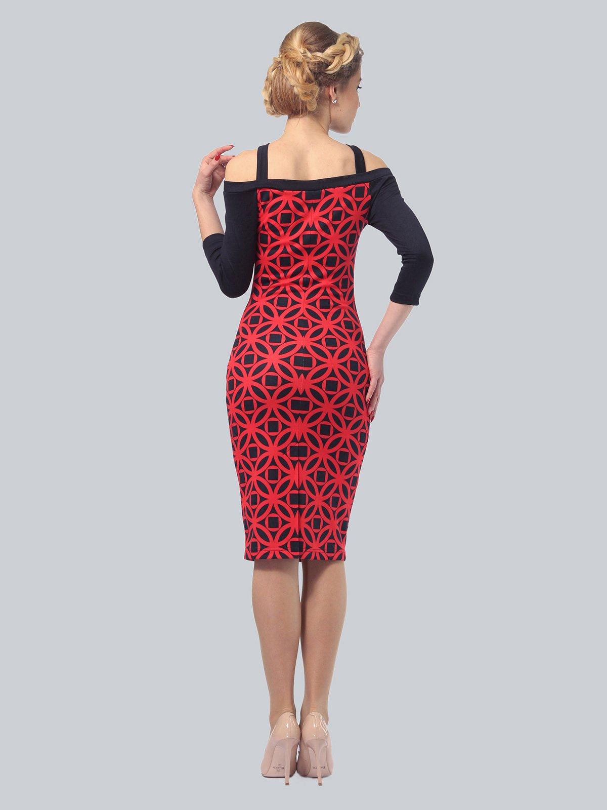 Платье красно-синее в принт | 3828034 | фото 4