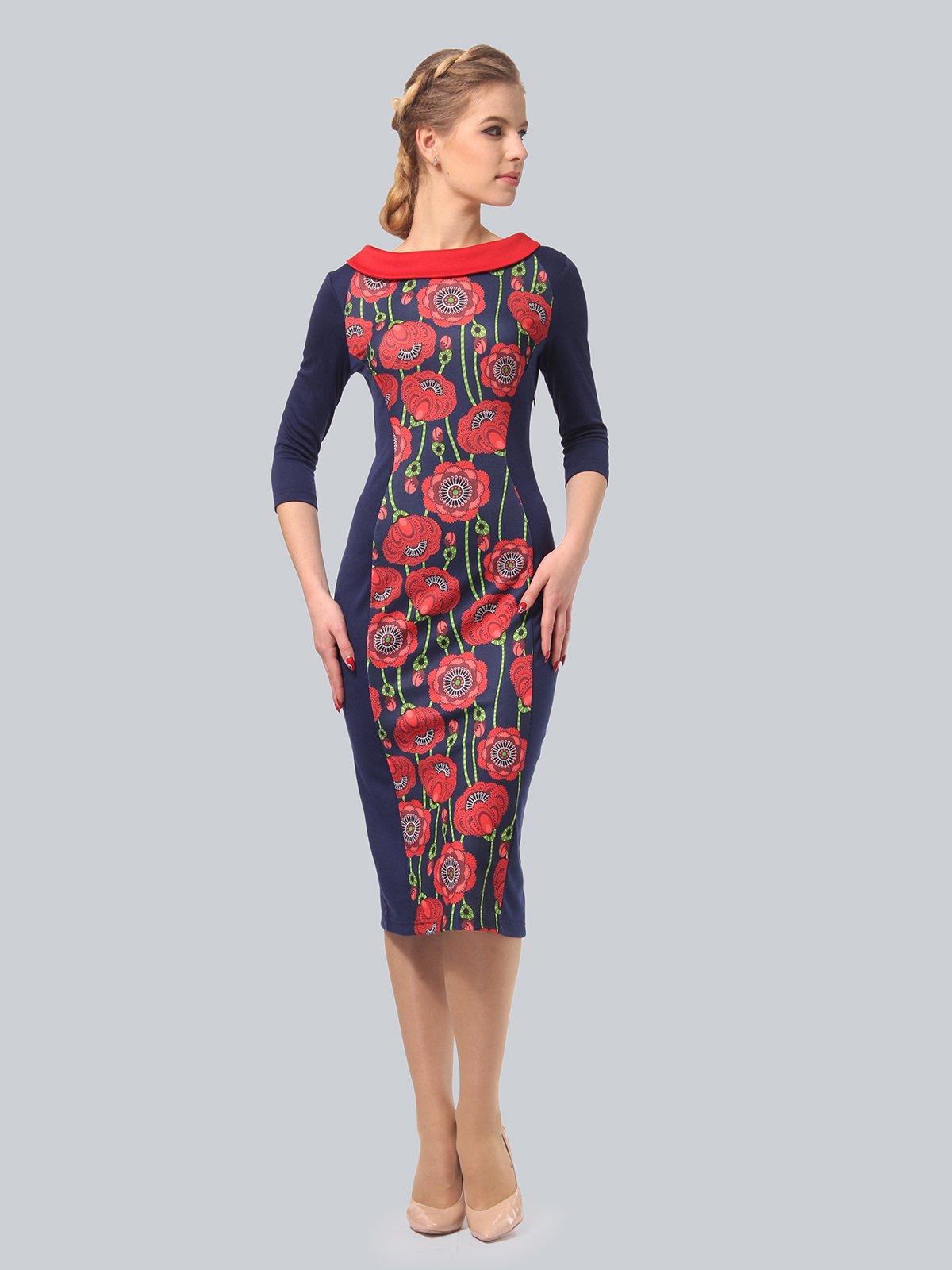 Платье синее с цветочным принтом   3840435
