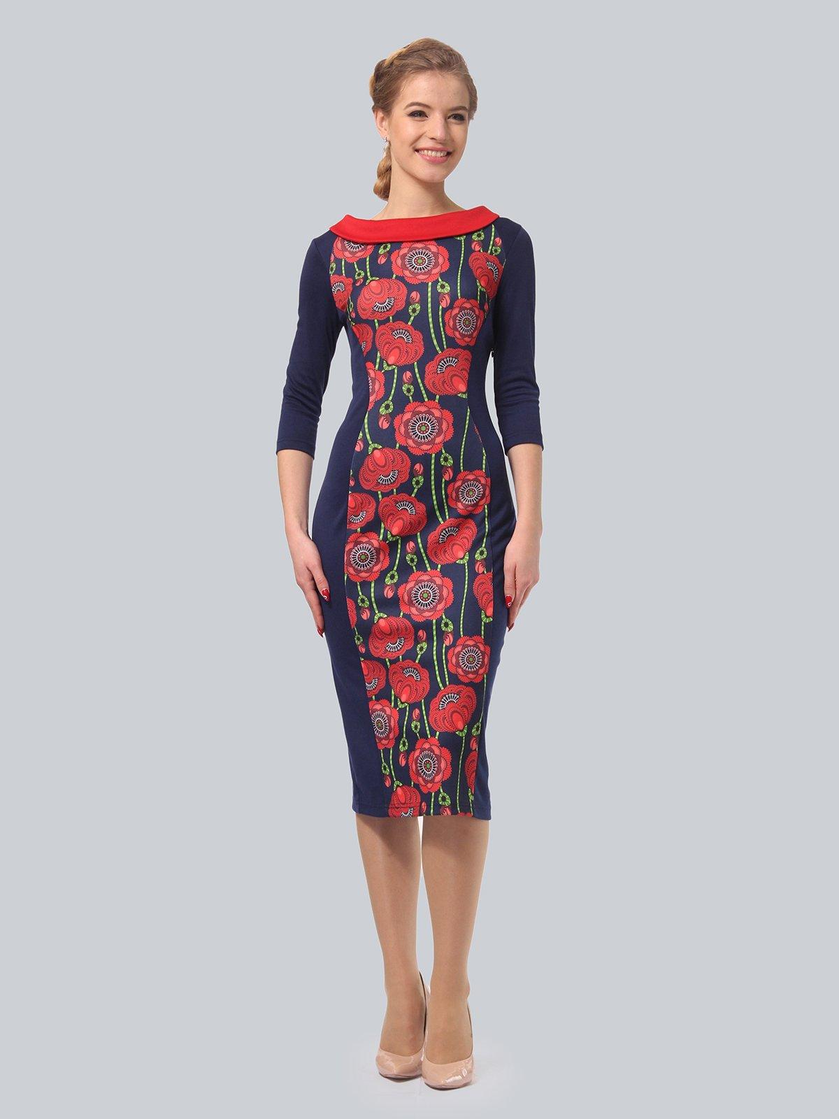 Платье синее с цветочным принтом   3840435   фото 2
