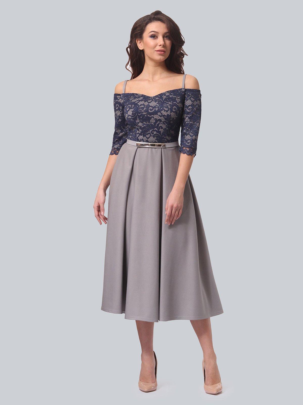 Платье серо-синее | 3851908