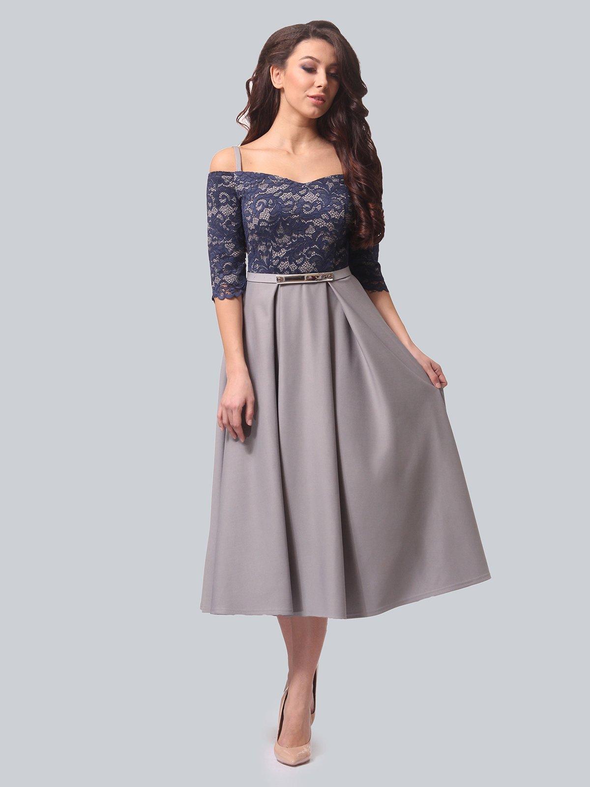 Платье серо-синее | 3851908 | фото 2