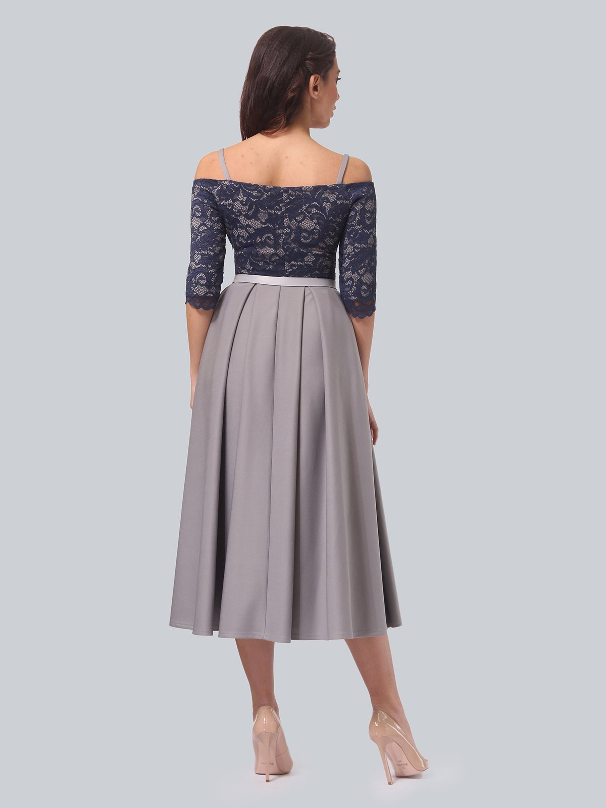 Платье серо-синее | 3851908 | фото 4