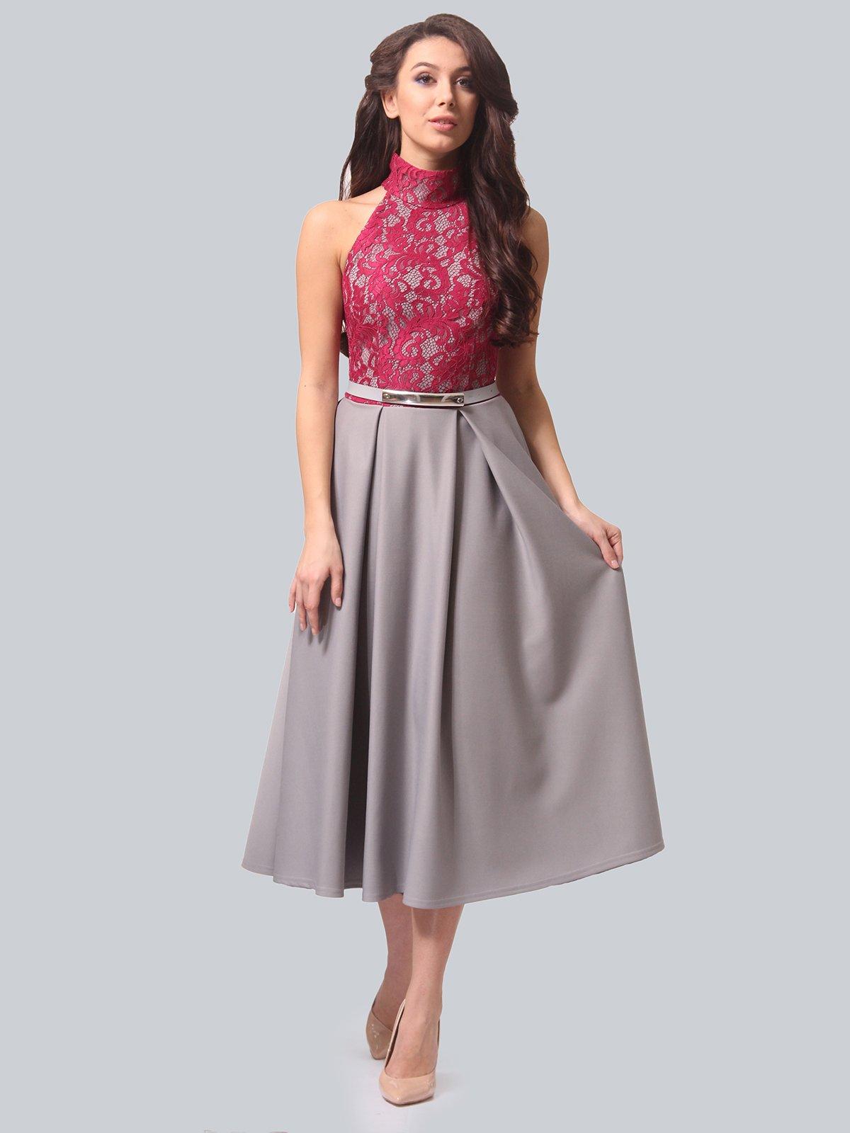 Платье серо-малиновое | 3851915
