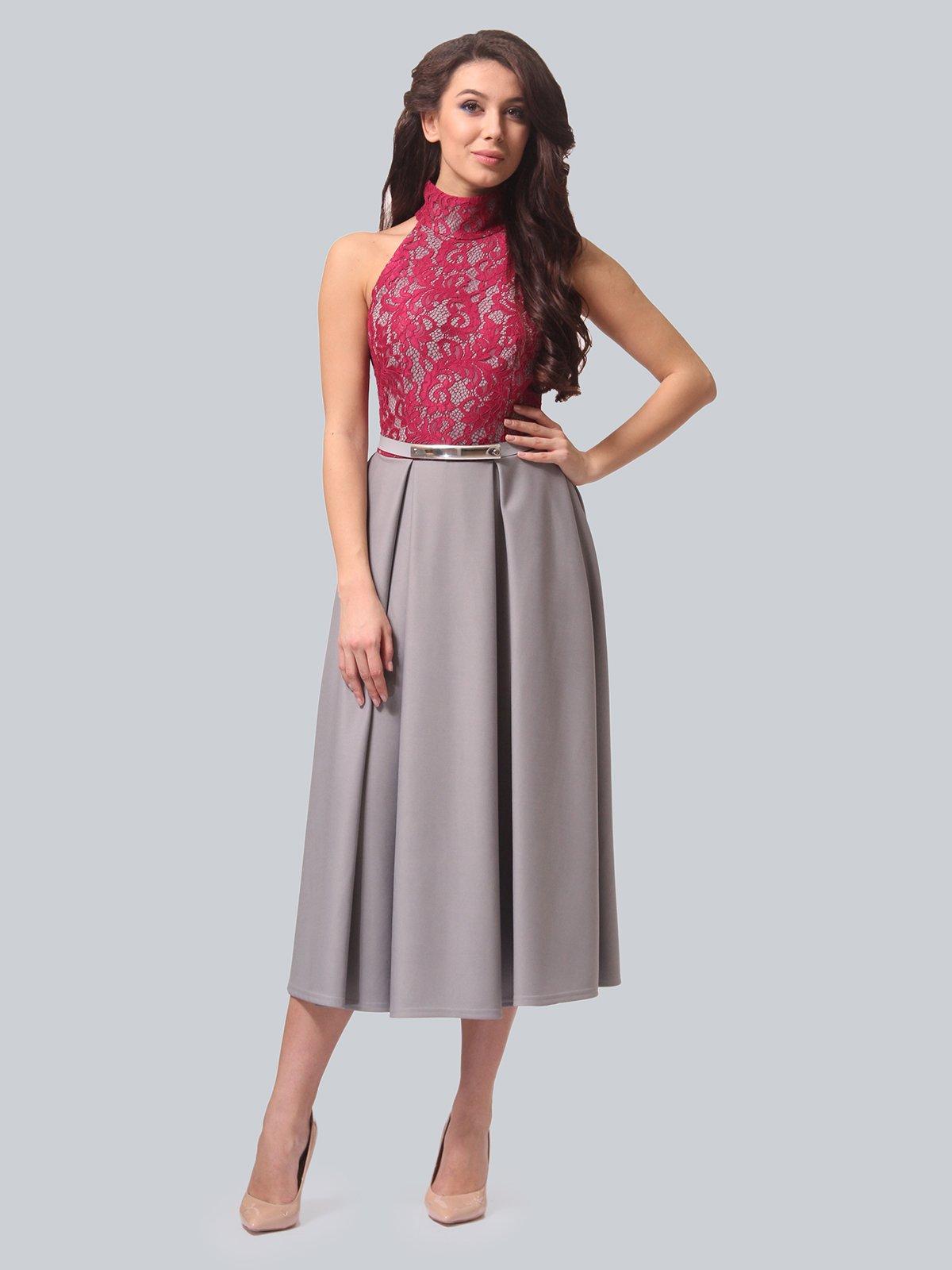 Платье серо-малиновое | 3851915 | фото 2