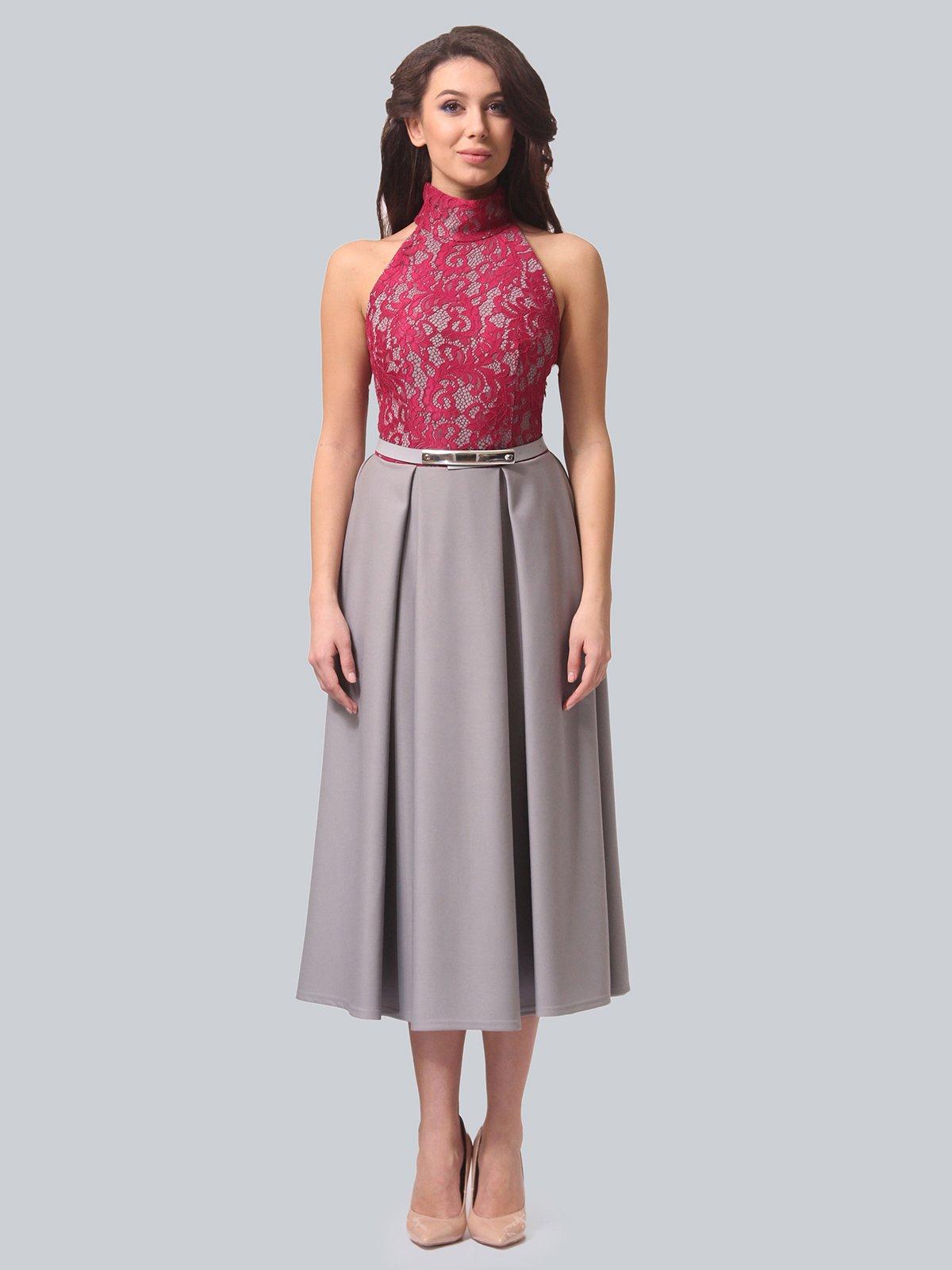Платье серо-малиновое | 3851915 | фото 3