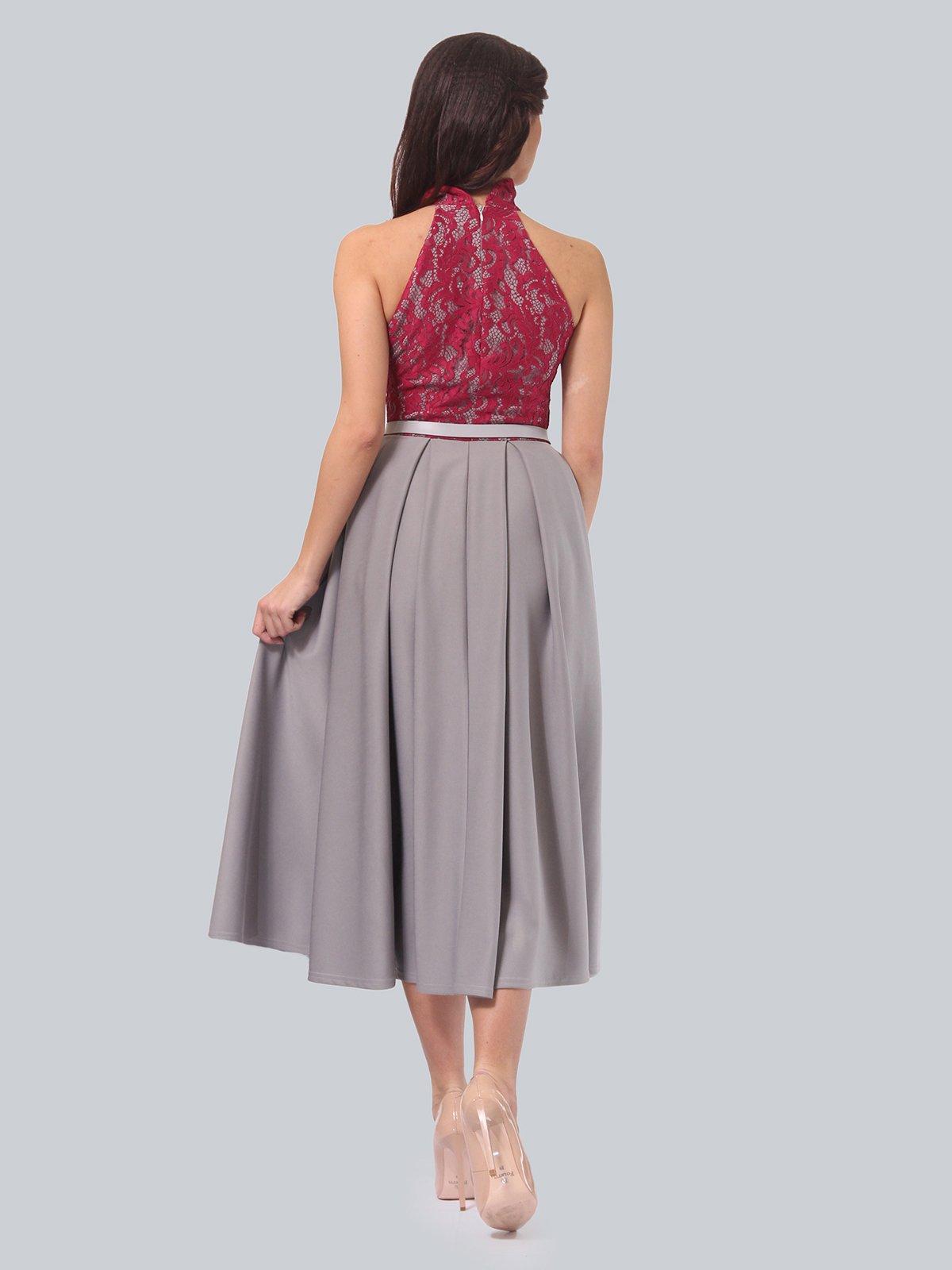 Платье серо-малиновое | 3851915 | фото 4