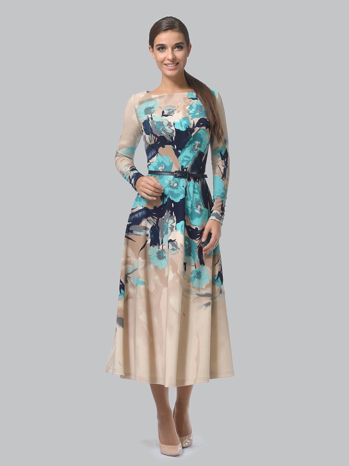 Платье бежевое в цветочный принт | 3863227