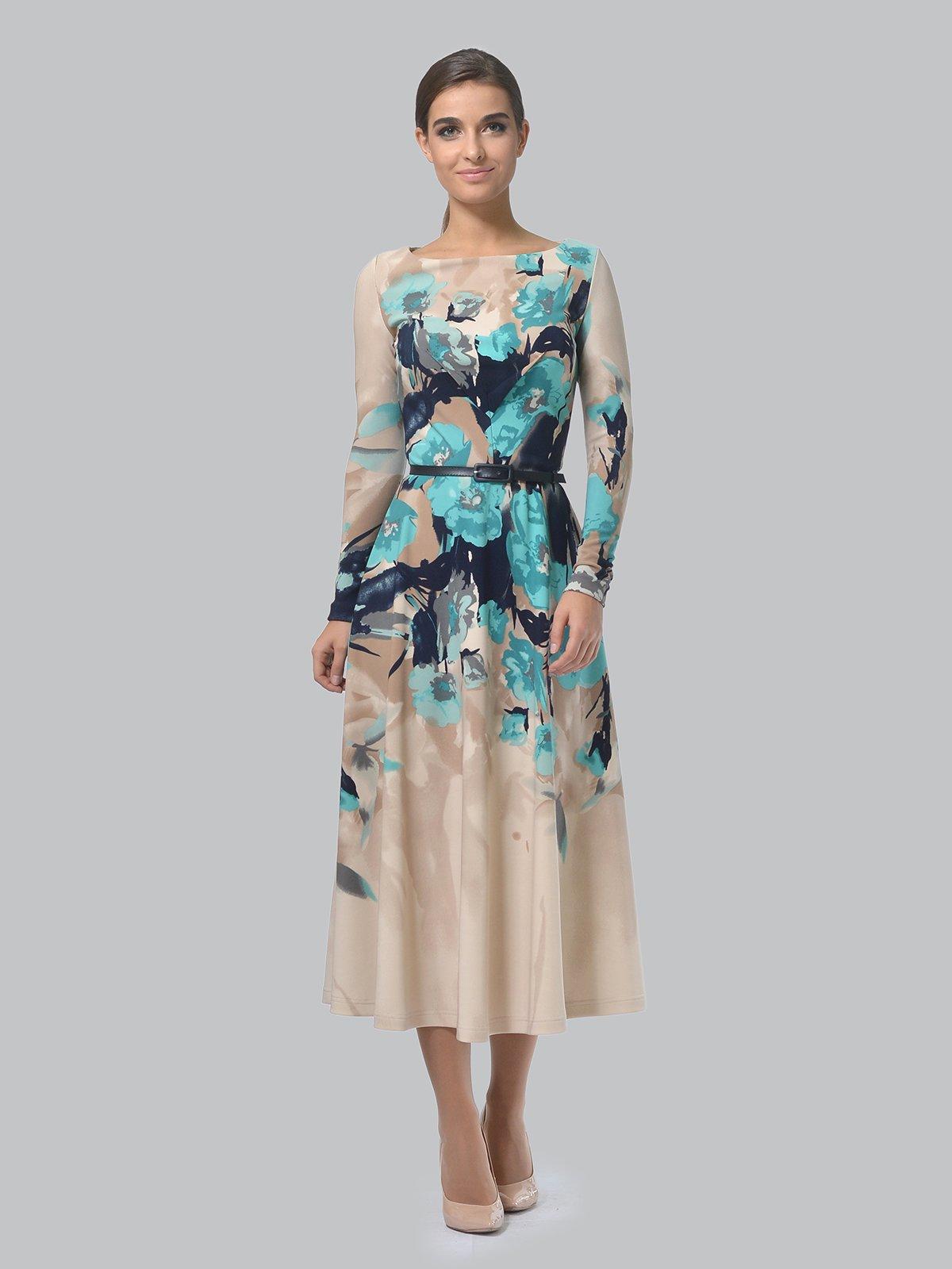 Платье бежевое в цветочный принт | 3863227 | фото 2