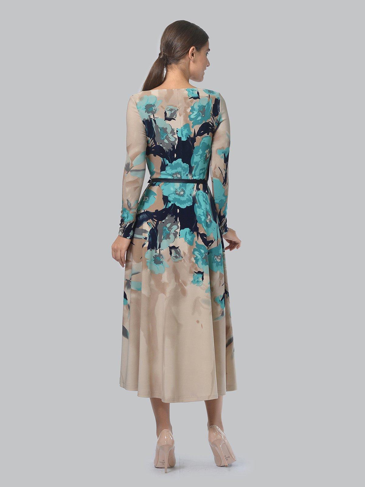 Платье бежевое в цветочный принт | 3863227 | фото 3