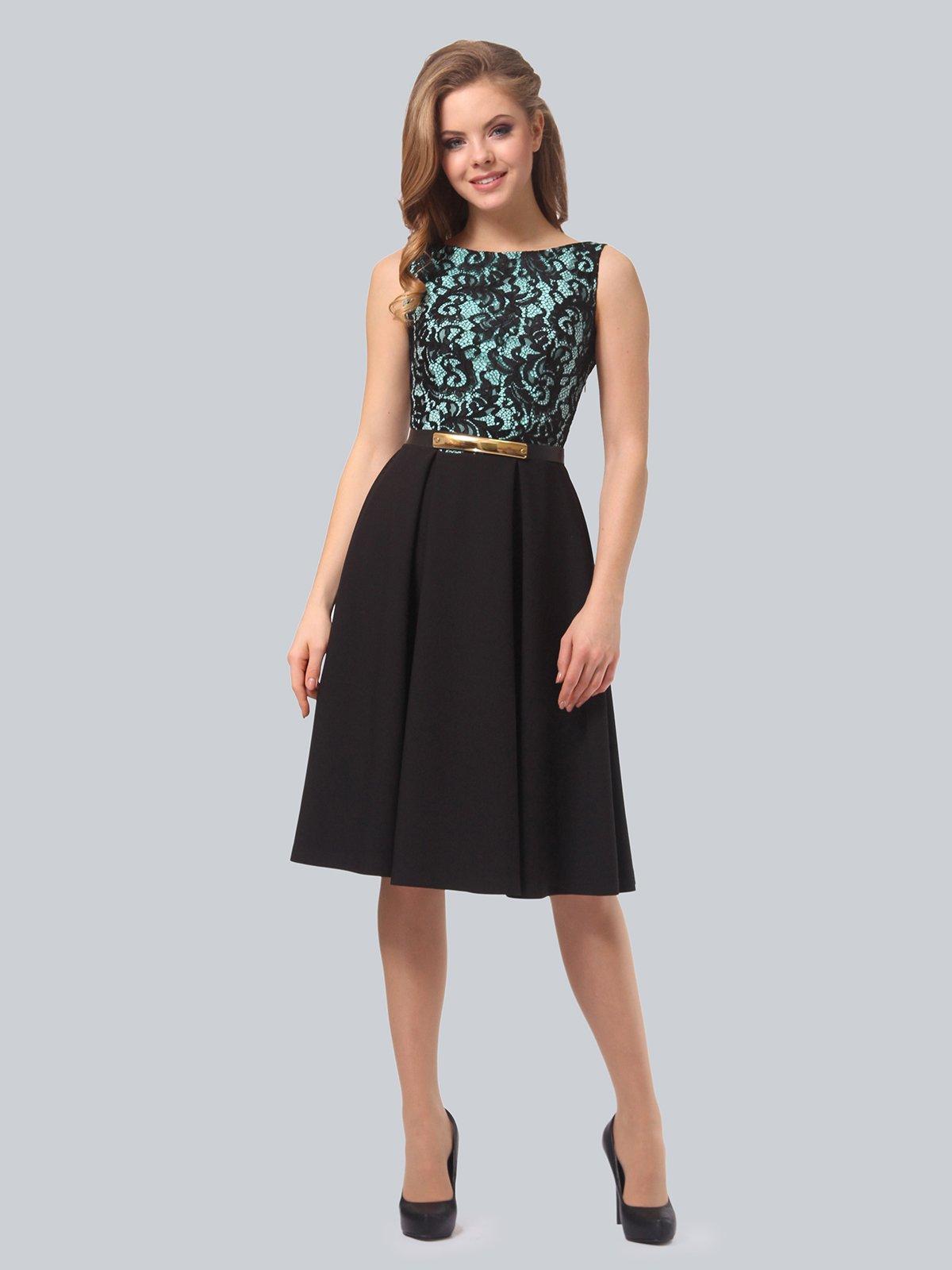 Сукня бірюзово-чорна | 3863265