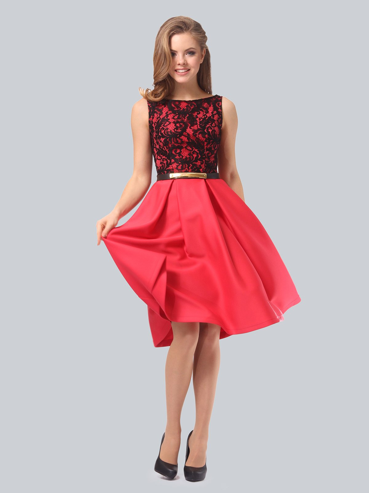 Платье кораллово-черное   3863268   фото 5