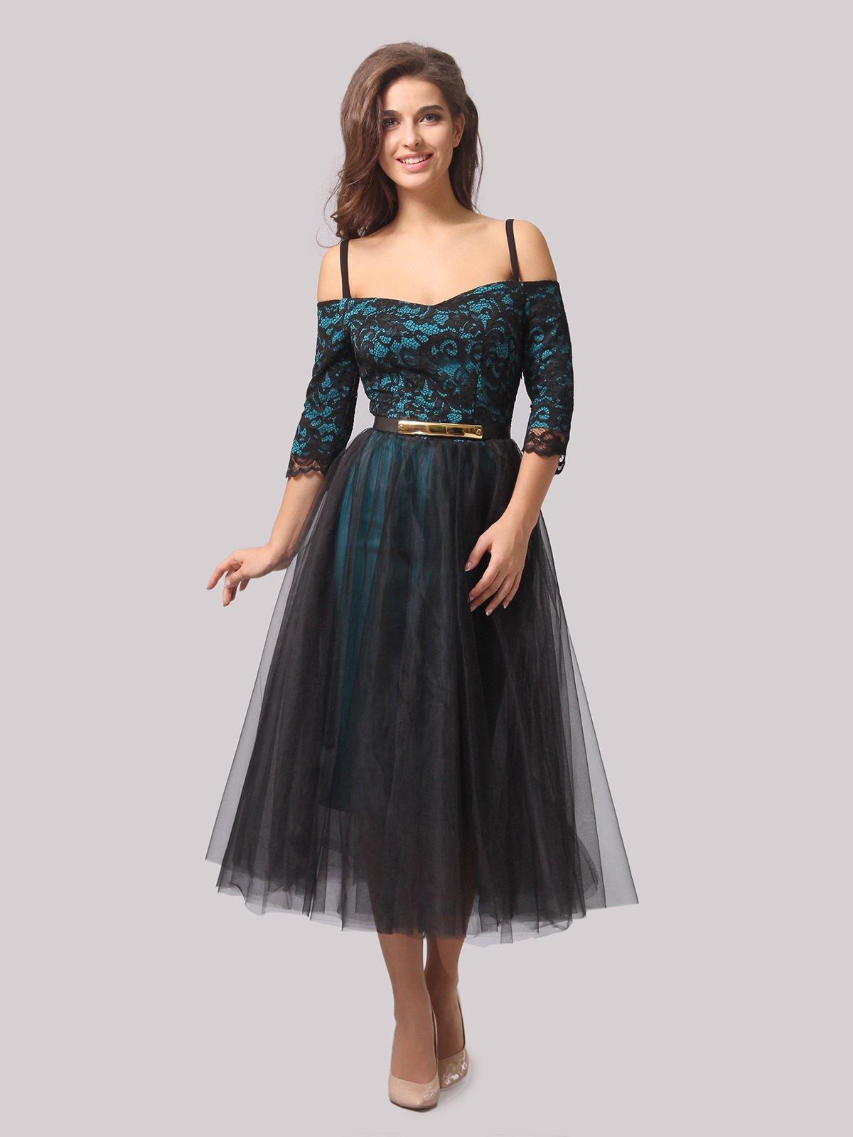 Платье бирюзово-черное | 3863289