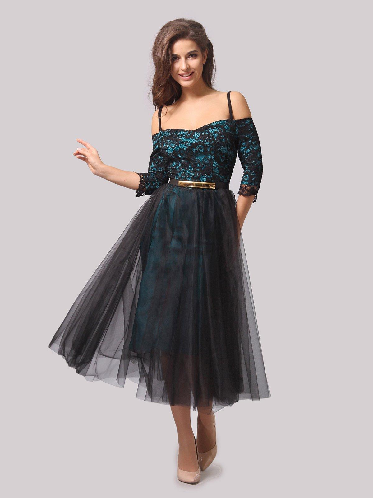 Платье бирюзово-черное | 3863289 | фото 2