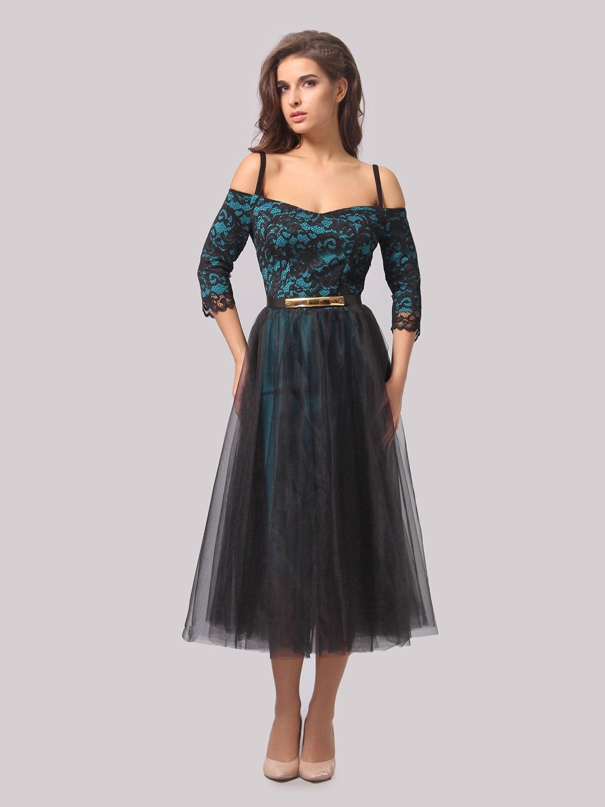 Платье бирюзово-черное | 3863289 | фото 3