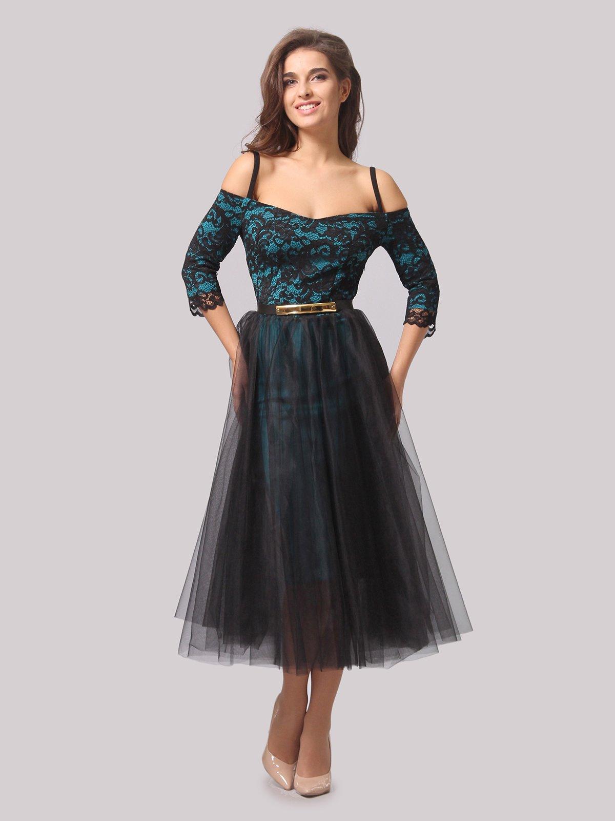 Платье бирюзово-черное | 3863289 | фото 4