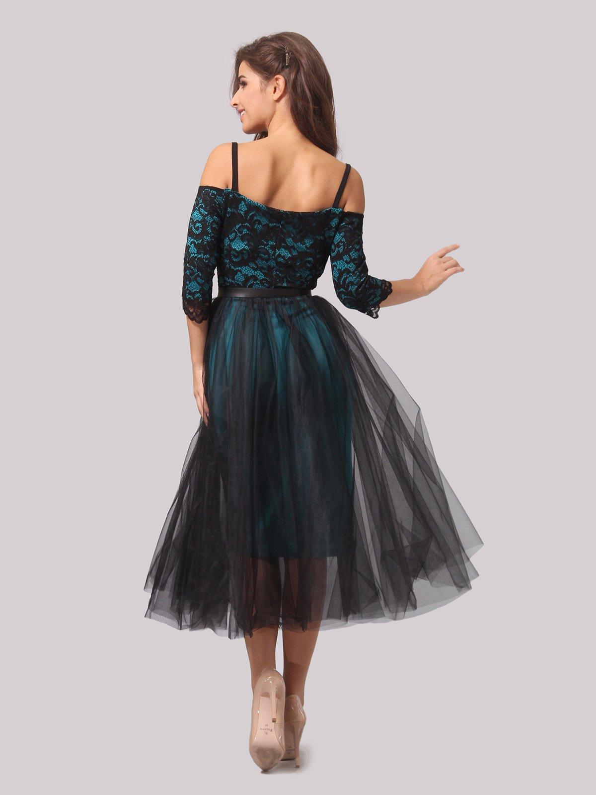 Платье бирюзово-черное | 3863289 | фото 6