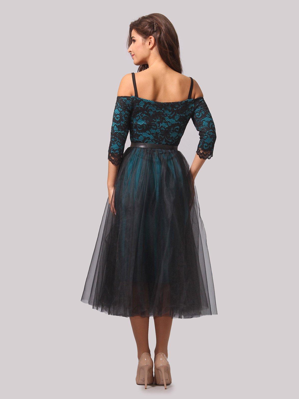 Платье бирюзово-черное | 3863289 | фото 7