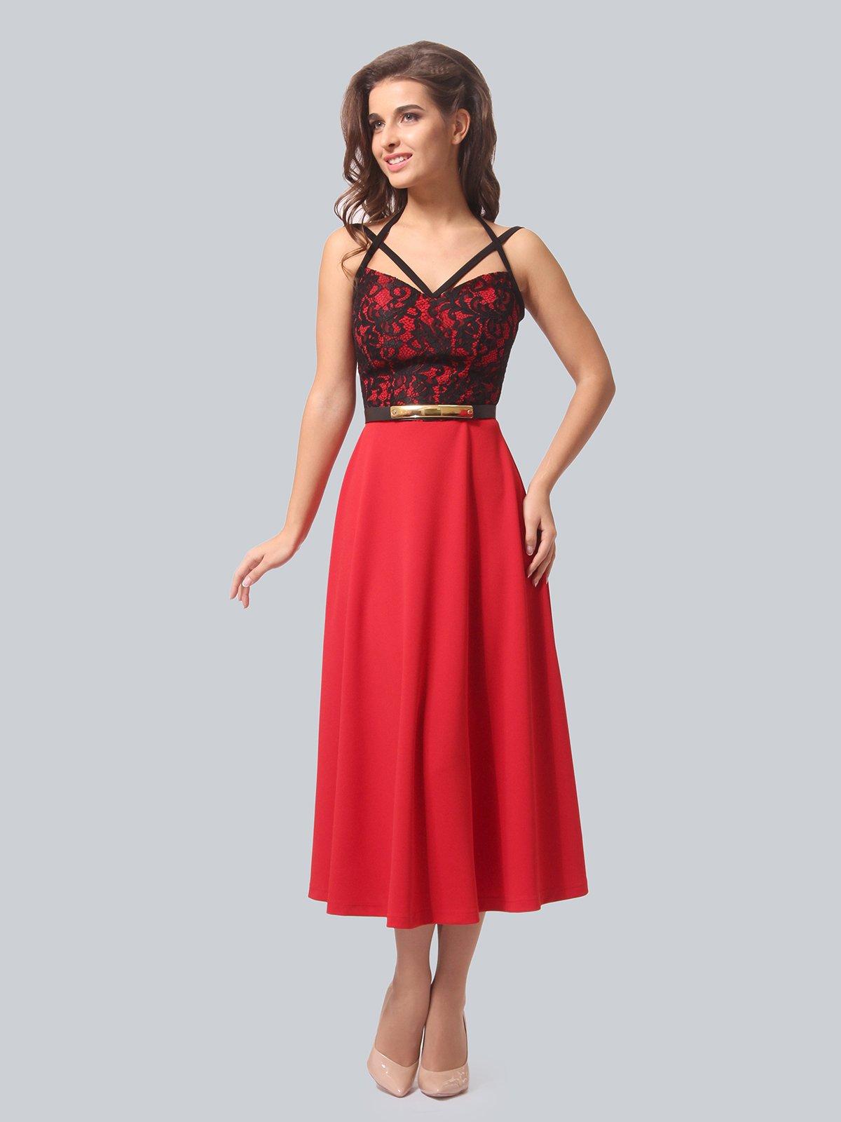 Сукня червона з чорним оздобленням | 3863294
